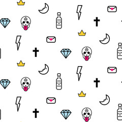 Doodle hipster lightning, skull eye and diamond seamless vector pattern. Simple outline tattoo style background.