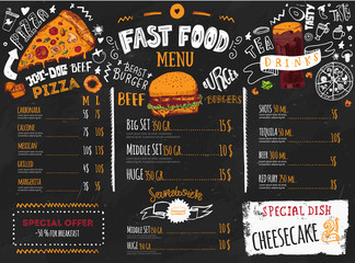 Fast food menu design on dark chalkboard with lettering and doodle style sketches. Vector creative junk kitchen illustration.