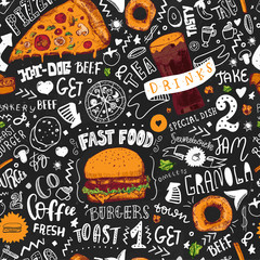 Fast Food seamless pattern in Hand Drawn Doodle Style with sketh Objects on Junk kitchen Theme with lettering. Chalkboard Design. Vector illustration.