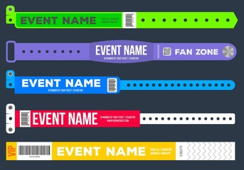 Creative vector illustration of bracelets for entrance to the event isolated on background. Art design. Abstract concept graphic element for concert fan zone, dancing club, party, music festival