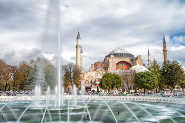 Hagia Sophia in Istanbul with city fountain in foreground, Istanbul