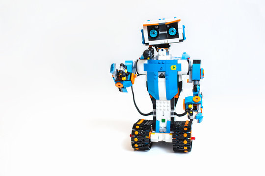 Robot made of plastic parts from the Lego Boost series, programmed on the computer, robotics.