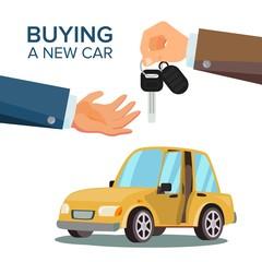 Car Sharing, Rent Vector. Dealer Giving Keys Chain. Car Owner. Purchase Sale Or Rental Car. Flat Illustration