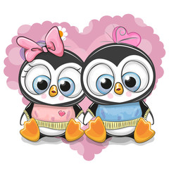 Two Cartoon Penguins on a background of heart