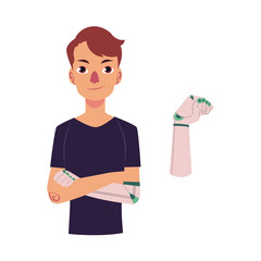 vector cartoon bionic futuristic mechanical prosthesis concept icon. Young man character with iron robotic arm. Isolated illustration on a white background.