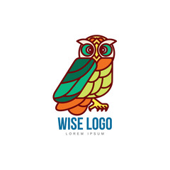 Logo, logotype template with colorful side view owl portrait, vector illustration isolated on white background. Multicolored owl logo, logotype, badge template for companies, schools and colleges