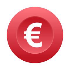 Runder 3D Button - Euro Zeichen