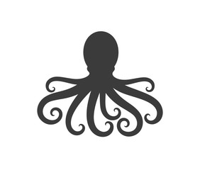 Octopus silhouette. Isolated octopus on white background