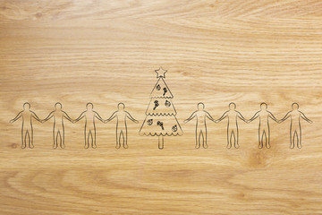 line of people holding hands and decorated Christmas tree in the middle