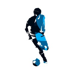 Soccer player running with ball, abstract blue vector silhouette