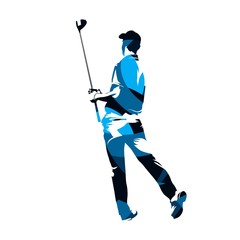 Golf player standing and holding driver in his hands. Abstract blue vector silhouette