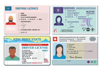 Car driver license with photo vehicle identity banner horizontal concept set. Flat illustration of 4 Car driver license with photo vehicle identity vector banner horizontal concepts for web