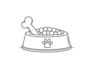 Bowl with dog food vector illustration drawn in black and white line art style for coloring pages