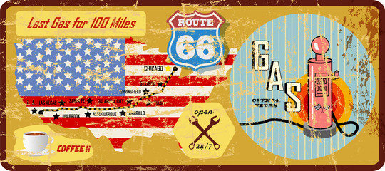 grungy route 66 gas station sign and road map, retro grungy vector illustration.