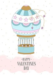 Romantic postcard with Valentine's Day. Elements and text. Vector illustration.