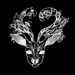 Illustration of a deer with peacock feathers in horns. Black and white vector of decorated deer