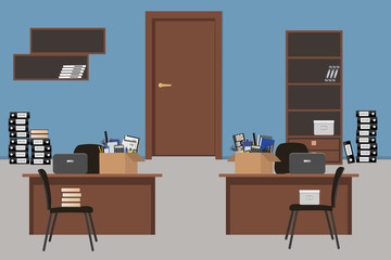 Moving to a new office. Blue office room. There are desks, chairs, a cabinet and shelves in the picture. Also there are cardboard boxes with stationery on the desks, and folders on the floor. Vector