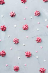 Valentines day holiday love concept with pink meringue and hearts