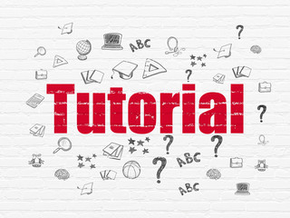Education concept: Painted red text Tutorial on White Brick wall background with  Hand Drawn Education Icons