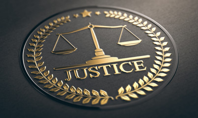 Justice, Law and Equality Symbol Over Black Background