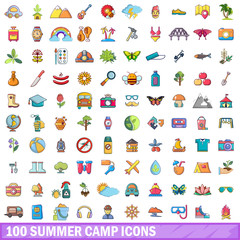 100 summer camp icons set, cartoon style