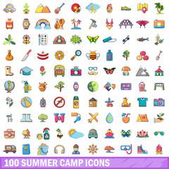 100 summer camp icons set, cartoon style
