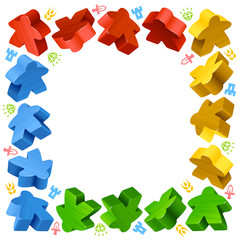 Square frame of multicolored meeples for board games. Red, yellow and green game pieces, and resources counter icons isolated on white background. Vector border for design boardgames advertisement