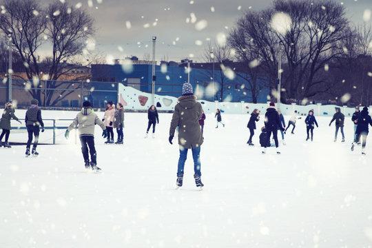 public outdoor ice skating rink in Riga, Latvia