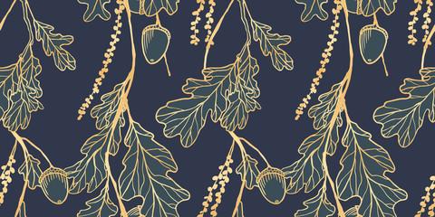 Seamless pattern, hand drawn golden oak leaves ,acorns and oak flower on blue background