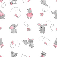 Seamless pattern with cute little animals. Vector background for kids.
