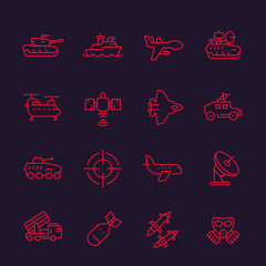 army, military line icons set, combat drone, tank, aviation, navy, ship, ballistic missile, helicopter, antiaircraft system, armoured fighting vehicles, bomb, sniper sight, armed forces