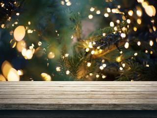 Luci di natale, addobbi, sfondo con legno