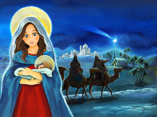 Cartoon scene with Mary and Jesus Christ and traveling kings - illustration for children