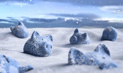 Sparschweine im Schnee