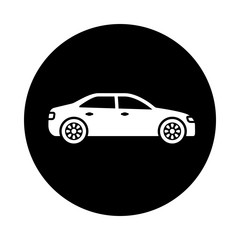 Car circle icon. Black, round, minimalist icon isolated on white background. Car simple silhouette. Web site page and mobile app design vector element.
