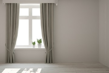 White empty room with flower on a window. Scandinavian interior design. 3D illustration