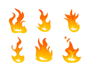 Cartoon fire flames vector set. Ignition light effect, flaming symbols. Hot flame energy, effect fire animation illustration on white background
