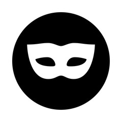 Carnival mask circle icon. Black, round, minimalist icon isolated on white background. Mask simple silhouette. Web site page and mobile app design vector element.