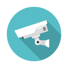 Security camera circle icon with long shadow. Flat design style. CCTV camera simple silhouette. Modern, minimalist, round icon in stylish colors. Web site page and mobile app design vector element.