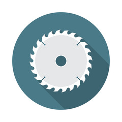 Circular saw blade circle icon with long shadow. Flat design style. Saw blade simple silhouette. Modern, minimalist, round icon in stylish colors. Web site page and mobile app design vector element.