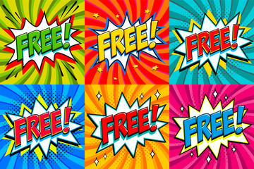 Free - Comic book style stickers. Free banners in pop art comic style. Color summer banners in pop art style Ideal for web. Decorative backgrounds with bomb explosive.