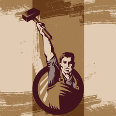 Vintage Revolution Logo. Propaganda Background Style Revolution raising The Sledgehammer.