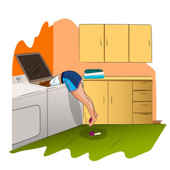 Young woman is fixing the washing machine