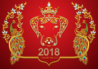 Dog is a symbol of the 2018 Chinese New Year.  with gold patterned and crystals on paper color.