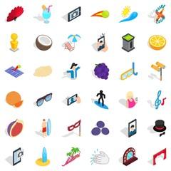Vacation icons set, isometric style