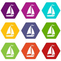 Boat icon set color hexahedron