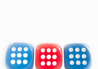 Three dice each showing nine