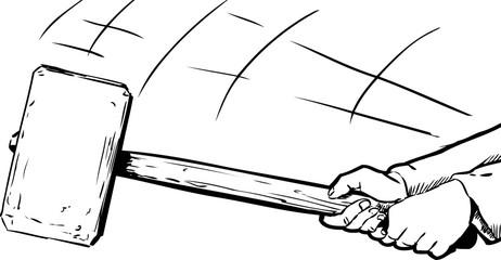 Outline of hands swinging a large sledge hammer