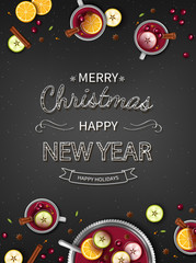 Merry Christmas Greeting vertical Background with Winter traditional drink punch in a bowl and cups, oranges, apples, spices, cardamom, cinnamon, anise on a black table. Top View. Vector