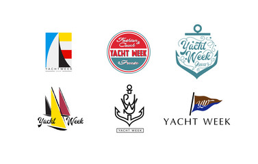Logo for cruise yacht branding. Vector illustration.